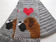 Gray Boxer scarf.  Grey crochet scarf with boxer dogs by hooknsaw, $42.00
