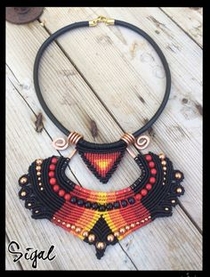 Hi my friends all over the universe I'm happy to share with you my new creation -Flame #micro_macrame_necklace #tribal #hand_made #cooper_structure