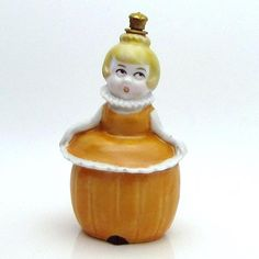 Vintage German Crown Top Perfume Bottle *Pumpkin Lady* Trinket Box from charmalier on Ruby Lane Fine Porcelain, Porcelain Doll, Porcelain Tiles, Top Perfumes, Antique Perfume Bottles, Trinket Boxes, 3d Printing, Auction, Vintage Makeup
