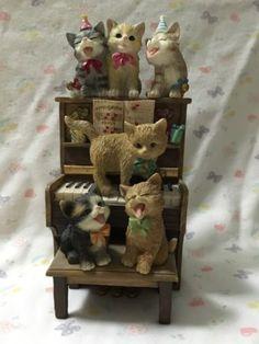 San Francisco Music Box Happy Birthday Cats On Piano Musical Figurine Badenhop