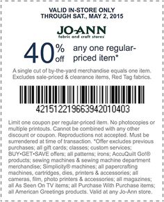 JoAnn Fabric - 40% Off 1 Regular Priced Item In Store