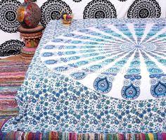 Indian Peacock Mandala Tapestry Indian Wall Hanging by Labhanshi