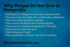 Why People Do Not Give to Nonprofits Nonprofit Fundraising, Fundraising Events, Fundraising Ideas, Grant Proposal Writing, Grant Writing, Volunteer Gifts, Volunteer Ideas, Volunteer Appreciation, Board Governance