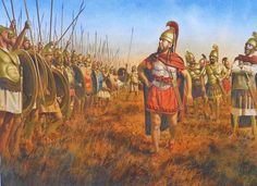 Xanthippus, the Greek (possibly Spartan) mercenary general, rouses a Carthaginian battle line before the battle of Tunis 255 BCE. Artwork by Steve Noon.