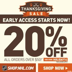 NHL Thanksgiving Sale - 20% Off - Early Access Now