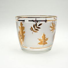 Ice Bucket with Gold Leaf Foliage and White Frosted Glass, Mid Century Modern, Vintage Barware, Libbey Pattern, Retro Glassware, Holiday's by GBCsLegacies on Etsy