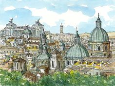 "Rome Panorama, Italy, 12"" x 9"" art print from an original watercolor painting"