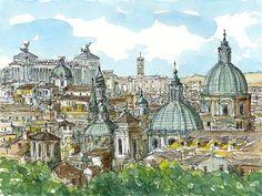 Impresión de un acuarela original de arte de Italia Roma Panorama