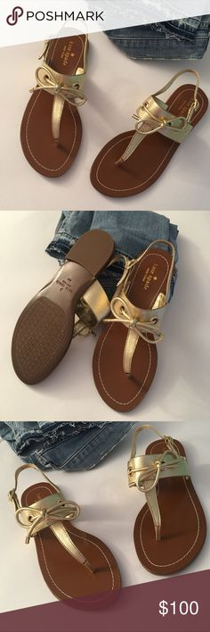 NEW Kate Spade Gold Thong Sandal Bow, Leather,8.5 NEW? Kate Spade Gold Thong Sandal Bow, Leather,8.5 NEW? Kate Spade Gold Thong Sandal Bow, Leather,8.5. Flat Thong sandal with ankle strap side buckle. Decorative bow in front. Brown footbed. ???New without Box!??? kate spade Shoes Sandals