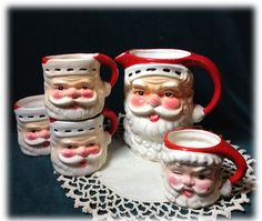 Mid Century Retro Santa Cocoa Set Pitcher 5 Mugs Japan by radishka, 38.00