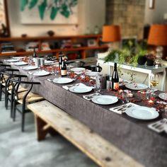 Simple rustic feast table