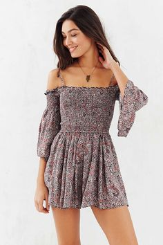 Ecote Lula Off-The-Shoulder Romper - Urban Outfitters