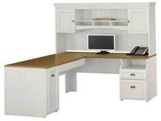 Office Depot Computer Desk with Hutch - Modern Home Office Furniture Check more at adidasjrcamp. White Corner Desk, Corner Desk With Hutch, Computer Desk With Hutch, Desk Hutch, Computer Desks, Buy Computer, Small Corner, Computer Armoire, Small Computer