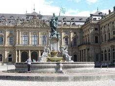 Spectacular Frankoniabrunnen fountain statue Wurzburg Germany