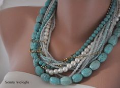 Statement  Turquoise and Ivory Pearl Necklace by HMbySemraAscioglu, $183.00