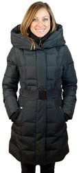 Women's Junior Fit Down Fill Belted Coat with Pillow Hood