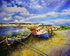 Long Walk With Boats Painting by Conor McGuire