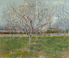 Orchard in Blossom (Plum Trees) by Vincent Van Gogh Fine #Art #Reproduction #Prints . #vangogh #painting #fineart #postimpressionism #impressionism #print #reproductions #posters
