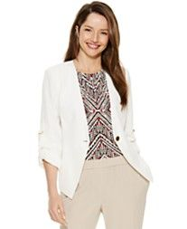Calvin Klein One-Button Roll-Tab-Sleeve Jacket