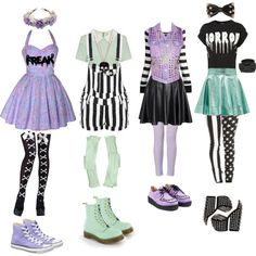 Pastel Goth #2 by queenstormrider on Polyvore featuring polyvore, fashion, style, Lipsy, Forever 21, True Religion, Dr. Martens, Converse, Jeffrey Campbell and RED Valentino