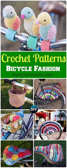 DIY Crochet Bicycle Fashion Patterns Ideas and Instructions Collection of crochet bicycle fashion accessories patterns and inspiration, bike basket, saddle cover, bike seat cover cozy, Bicycle Skirt Guards patterns [some free] via DIYHowTo Crochet Velo, Crochet Diy, Crochet Home, Love Crochet, Crochet Gifts, Bike Seat Cover, Saddle Cover, Seat Covers, Crochet Stitches Patterns