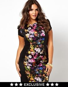 Little Mistress Bodycon Midi Dress With Floral Panel
