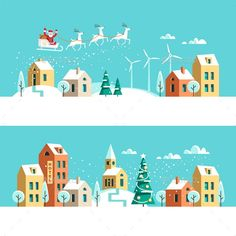 Winter town snowy street. Urban landscape. Christmas card. Vector illustration flat design.