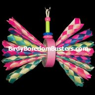 Bamboo Butterfly Shreddable Bird Toy. Instead of finger traps, use straws or strips of foam.