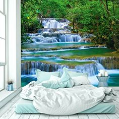 livingdecoration Photo Wallpaper Waterfall 274 x 254 cm Forest River Jungle Thailand Asia Tropical Wall Mural included Glue Wall Mural Art Glue Paste included