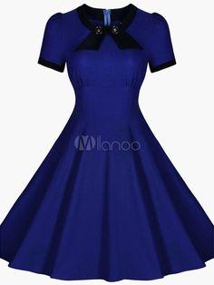 Vestido manga corta de la vendimia de la burbuja - Milanoo.com