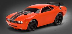 Customizable toy car @ RIDEMAKERZ! Dodge Challenger - Orange Crush. Build the 21st Century muscle legend!