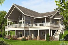 HOUSE PLAN 039-00679 – A beautiful house plan for lakefront or mountain property where the abundance of outdoor space will be effortlessly enjoyed and a welcome space to relax in. The interior floor plan features approximately 2,972 square feet of living space with four bedrooms and two plus baths.