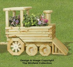 All Yard & Garden Projects - Landscape Timber Train Planter Plans Wooden Planters, Wooden Garden, Planter Boxes, Landscape Timber Crafts, Landscape Timbers, Outdoor Projects, Garden Projects, Wood Projects, Woodworking Plans