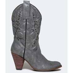 ARIENETTE-2 BOOT ($79) ❤ liked on Polyvore featuring shoes, boots, silver, rhinestone boots, grey cowgirl boots, mid-calf boots, cowboy boots and rhinestone cowgirl boots