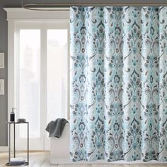 Bathroom: Madison Park Capris 72-Inch x 72-Inch Microfiber Shower Curtain in Blue - BedBathandBeyond.com