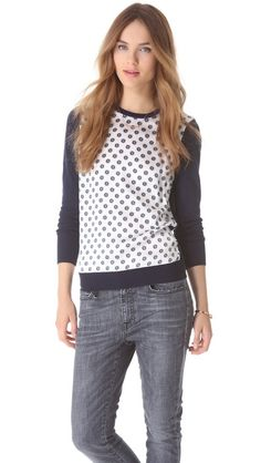 Equipment Roland Floral Sweater. Love the unexpected twist of a silk front panel printed with a fun pattern. It looks like polka dots from afar, but up close, it's much more intricate.
