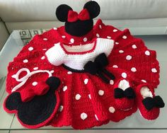 """""""Just finished Mickey Mouse Inspired Baby set and Little Girl Bag"""" - Terry Reading Dress - Adapted from: http://thishousewifelife.blogspot.hk/2014/04/sugar-n-spice-dress-free-pattern.html Hat - Adapted from: http://www.repeatcrafterme.com/2012/06/mickey-and-minnie-mouse-crochet-hat.html Booties - Adapted from: http://www.hopefulhoney.com/2015/02/lemon-drop-baby-booties-crochet-pattern.html Girls Bag: http://crochetjewel.com/?p=14867"""