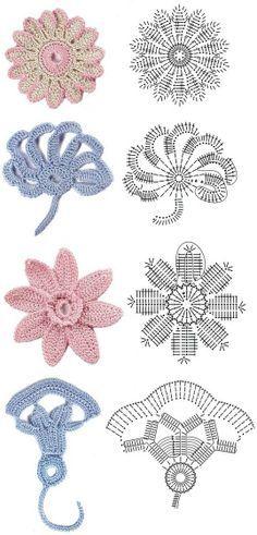 irish crochet motif diagrams | Crochet flowers diagram 2