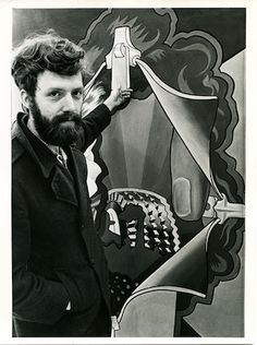"Hairy Who artist Art Green with his painting ""Disclosing Enclosure"" (1969), oil on canvas, 93 x 62.5 in (photo by Chicago Daily News, courtesy Pentimenti Productions)"