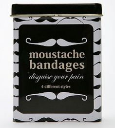 Mustache Bandages-now these would truly cause even more injuries to occur at school!