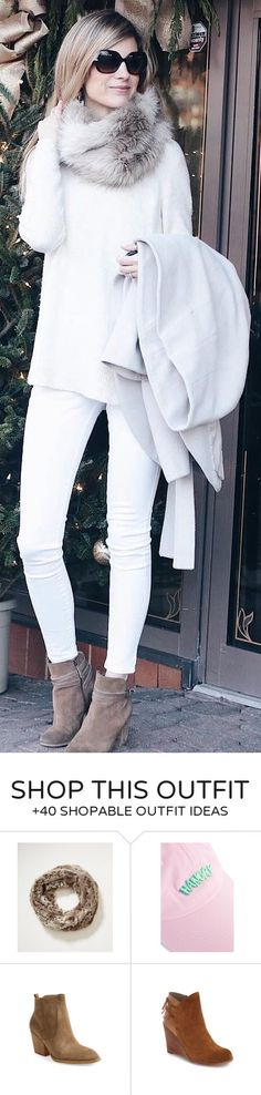 #winter #fashion /  Faux Fur Scarf / White Knit / White Skinny Jeans / Brown Booties