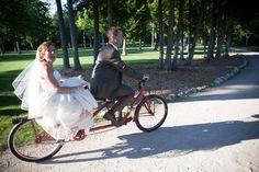 tandem bicycle wedding getaway