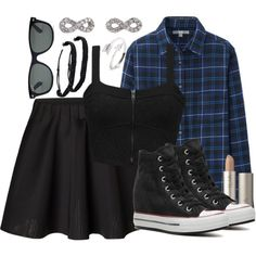 Ravenclaw!Ginny Outfit by hpstyle on Polyvore featuring Uniqlo, Element, Vero Moda, Converse, Adina Reyter, Pura Vida, Ray-Ban, Spring, casual and ginny