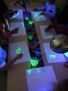 Glow Painting!  1. Carefully pop off the back of a Sharpie accents highlighter using a knife.  Yellow or green works best.  2.  Pull out the innards, and cut the plastic.  Be careful, it's messy!  3.  Put it in half a plastic cup of water.  4.  Turn on the blacklight, turn off the lights, and give those kids some white paper!