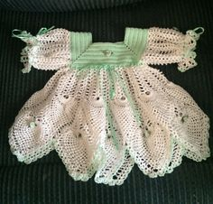 Gorgeous Handmade Crochet Newborn Mint Green and White Pineapple Dress Set by Heirloombabyclothes on Etsy