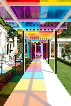 Colour perspex adds another fun but stylish dimension to this hotel garden