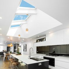 View our kitchen gallery and feel inspired to get your very own VELUX skylights. Home, Home Kitchens, Kitchen Ceiling, House Design, Best Kitchen Designs, Eclectic Kitchen Design, Velux Skylights Kitchen, Cottage Kitchen Design, Home Renovation
