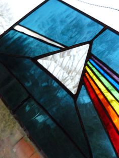 Dark Side Of The Moon Stained Glass Panel Pink Floyd in steel blue, or blue with a touch of pink