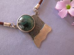 Sterling Silver 925 Necklace Handmade Green Agate by leylaks