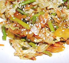 Braised Asian Cabbage and Asparagus - Recipe